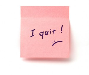 """Pink postit note with """"I Quit"""""""