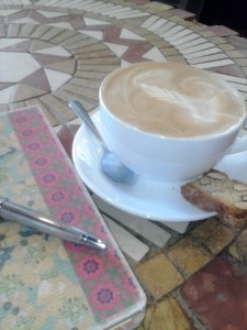 Latte + journal + fountain pen = Bliss